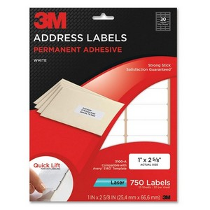 "3M Address Label - 1"" Width x 2.62"" Length - 30/Sheet - Permanent - 750 / Pack - White"
