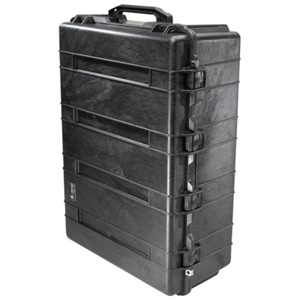"Pelican 1730 Transport Case wit Foam - Internal Dimensions: 24"" Width x 12.50"" Depth x 34"" Length - External Dimensions: 27.1"" Width x 14.4"" Depth x 37.5"" Length - Copolymer, Polyurethane, Stainless Steel, ABS Plastic - Black"