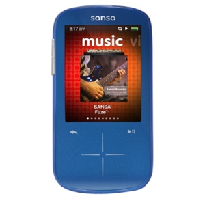 "SanDisk Sansa Fuze SDMX20R 8 GB Blue Flash Portable Media Player - Audio Player, Photo Viewer, Video Player, FM Recorder, FM Tuner, Voice Recorder - 2.4"" Color LCD - microSD Card, microSDHC Card - 1 Day Audio - 5 Hour Video"