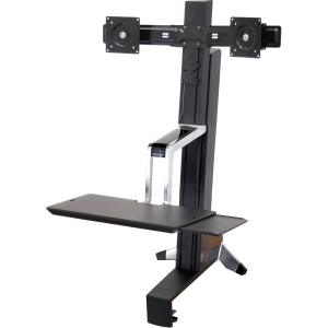 Ergotron WorkFit-S 33-341-200 Display Stand - 31.00 lb Load Capacity - Steel, Plastic, Aluminum - Black