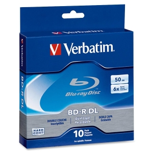 Verbatim Blu-ray Dual Layer BD-R DL 6x Disc - 50GB - 120mm Standard - 10 Pack Spindle