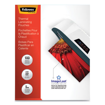 Fellowes Glossy Pouches - Letter, 5 mil, 100 pack - Letter - 9&quot; Width x 11.50&quot; Length x 5 mil Thickness - Type G - Glossy - Durable - 100 / Pack - Clear