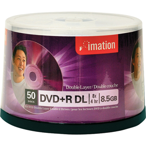 Imation 8x DVD+R Double Layer Media - 8.5GB - 120mm Standard - 50 Pack Spindle