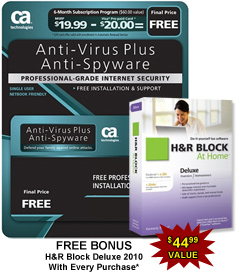 CA AntiVirus Plus Software - 6 Month Subscription. Bonus, Free H&amp;R Block At Home Deluxe
