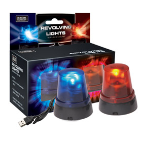 Flashing & Spinning USB Police Lights for PCs - Set of 2 (Blue & Red)