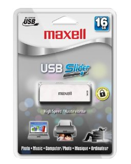 Maxell 16GB USB Slider 2.0 Flash Drive (White)
