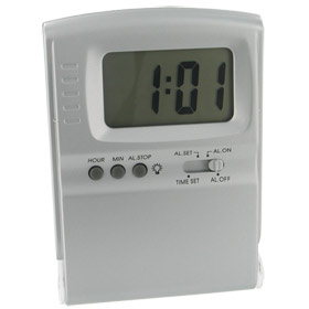 LCD Travel Alarm Clock with Alternating Color Display