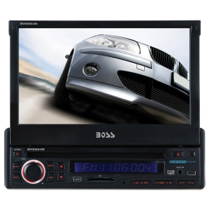 "Boss BV9964B Car DVD Player - 7"" Touchscreen LCD - 340 W RMS - Single DIN - DVD Video, MPEG-4, Video CD, SVCD, SDVD - AM, FM - Secure Digital (SD) - Bluetooth - Auxiliary InputiPod/iPhone Compatible - In-dash"