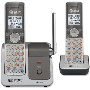 AT&T CL81201 Cordless Phone - DECT - Silver, Black - 1 x Phone Line - 2 x Handset - Caller ID - Speakerphone