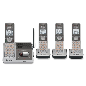 AT&amp;T CL82401 Cordless Phone - DECT - Silver, Black - 1 x Phone Line - 4 x Handset - Answering Machine - Caller ID - Speakerphone - Backlight