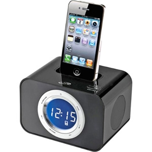 iLive ICP211B Desktop Clock Radio - Apple Dock Interface - FM - iPod Dock, iPhone Dock