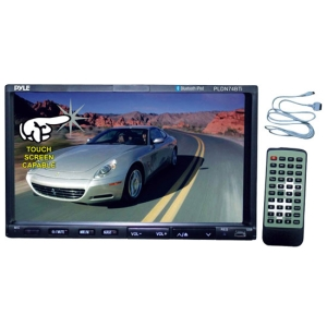 "Pyle PLDN74BTI Car DVD Player - 7"" Touchscreen LCD - 16:9 - 320 W RMS - Double DIN - DVD Video, Video CD, MPEG-4 - AM, FM - Secure Digital (SD), MultiMediaCard (MMC) - BluetoothiPod/iPhone Compatible - In-dash"