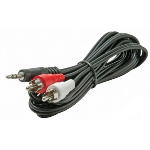Steren BL-265-412BK Audio Cable Adapter - 12 ft - Mini-phone Male Stereo Audio - RCA Male Audio - Black