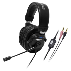 """Audio-Technica ATH-770COM Headset - Stereo - Mini-phone - Wired - 40 Ohm - 10 Hz-24 kHz - Gold Plated - Over-the-head - Binaural SNR - Ear-cup - 79"""" Cable"""