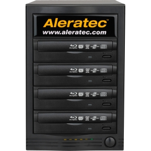 Aleratec 260165 1:4 LightScribe BD/DVD/CD Duplicator - Blu-ray Writer - 12x BD-R, 8x BD-R, 16x DVD+R, 16x DVD-R, 8x DVD+R, 8x DVD-R, 48x CD-R, 12x DVD-RAM - 2x BD-RE, 2x BD-RE, 8x DVD+R/RW, 6x DVD-R/RW, 24x CD-RW