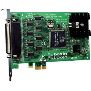 Brainboxes PX-279 8-port Multiport Serial Adapter - PCI Express x1 - 8 x DB-9 Male RS-232 Serial Via Cable - Plug-in Card