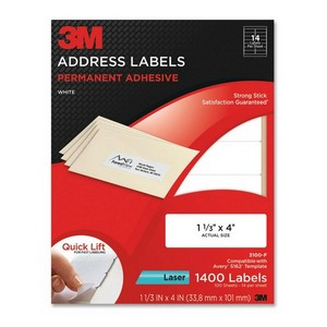 "3M Address Label - 1.33"" Width x 4"" Length - 14/Sheet - Permanent - 1400 / Pack - White"