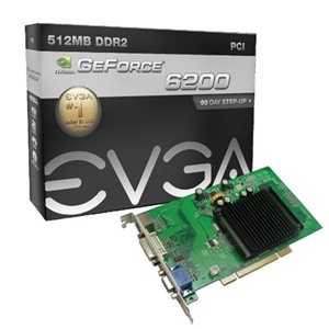 EVGA GeForce 6200 Graphics Card - nVIDIA GeForce 6200 300MHz - 512MB DDR2 SDRAM 64bit - PCI - DVI-I, HD-15 - Bulk