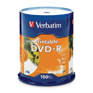 Verbatim DVD Recordable Media - DVD-R - 16x - 4.70 GB - 100 Pack - 120mm