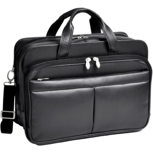 "McKleinUSA Walton R Series 83985 Expandable Double Compartment Laptop Case - Shoulder Strap, Hand Strap17"" Screen Support - 13"" x 17.5"" x 10"" - Leather - Black"