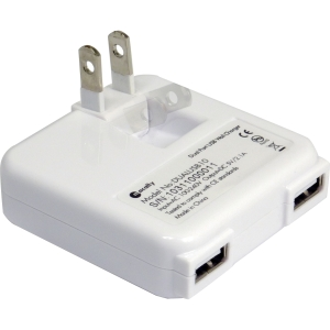 Macally DUALUSB10 Dual-USB AC Adapter - 10 W - 5 V DC - 2.10 A For iPad, iPhone, USB Device