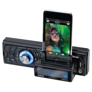 Boss 758DBI Car Flash Audio Player - 52 W RMS - iPod/iPhone Compatible - Single DIN - LCD Display - MP3 - AM, FM - 18, 12 x FM, AM Preset - Secure Digital (SD) Card - Bluetooth - USB - Auxiliary Input - Detachable Front Panel