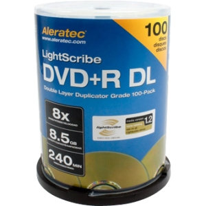 Aleratec 300120 DVD Recordable Media - DVD+R DL - 8x - 8.50 GB - 100 Pack - 120mm - LightScribe4 Hour Maximum Recording Time