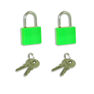 Voltage Valet 2 Travel Luggage Locks with Keys - Green  (2KL-G)