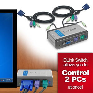D-Link 2-Port PS/2 KVM Switch with Audio - 2 x 1 - 2 x HD-15 Keyboard/Mouse/Video - Desktop