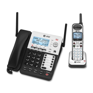 AT&T SynJ SB67138 Cordless Phone - DECT - Black, Silver - 4 x Phone Line - Answering Machine - Caller ID - Speakerphone - Backlight