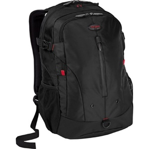 "Targus Terra TSB226US Carrying Case (Backpack) for 16"" Notebook - Black, Red - Water Resistant - Polyester"