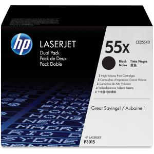 HP 55X Toner Cartridge - Black - Laser - 12500 Page - 2 / Pack