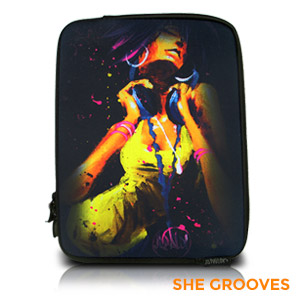 "David Garibaldi - She Grooves, Zippered Neoprene 10"" Netbook/Tablet Sleeve"