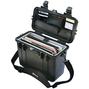 "Pelican 1430 Top Loader Case with Office Divider Set - 0.53 ft³ - Internal Dimensions: 5.76"" Width x 11.70"" Depth x 13.56"" Length - External Dimensions: 9.6"" Width x 13.4"" Depth x 16.9"" Length - Rubber, Copolymer - Black"