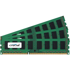 Crucial 12GB Kit (4GBx3), 240-Pin DIMM, DDR3 PC3-10600 Memory Module - 12 GB (3 x 4 GB) - DDR3 SDRAM - 1333 MHz DDR3-1333/PC3-10600 - ECC - Unbuffered - 240-pin DIMM