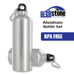 ArchStone 2 PACK BPA Free Aluminum Reusable Sports Water Bottles - 17 & 25.5 oz