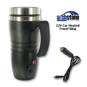 ArchStone Electronic Travel Mug -  Spill Resistant Lid, DC Plug, Rubber Bottom
