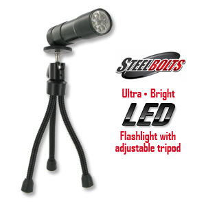 SteelBolts Ultra Bright LED Flashlight with Tripod