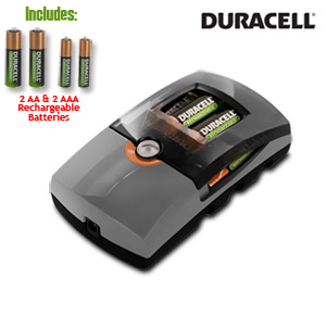 Duracell Go Mobile Charger/Rechargeable - includes car adapter and 2 AA & AAA precharged rechargeable batteries - CEF26DX
