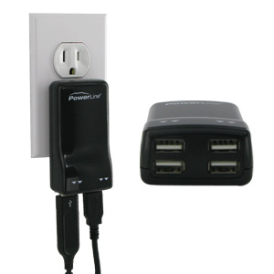 PowerLine Four Port USB Power AC Adapter, for MP3, iPod, iPhone & iPad