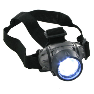 Super Bright Adjustable 1, 3, or 7-LED Power-Conserving Head Lamp