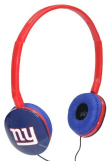 iHip NFL Officially Licensed Slim Logo Headphones - New York Giants