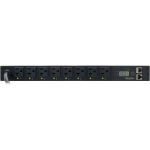 "CyberPower Switched PDU RM 1U PDU20SW8FNET 20A 8-Outlet - 8 x NEMA 5-20R - Zero U 19"" Rack-mountable, 1U 19"" Rack-mountable"