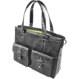 "WIB Nairobi Black Leather Look - Tote - Shoulder Strap - 16.1"" Screen Support - Leather - Black"