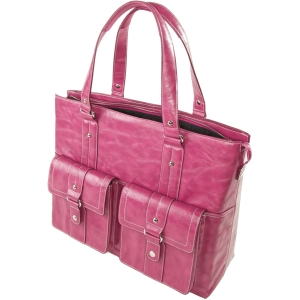 WIB Nairobi Raspberry Leather Look - Tote - Shoulder Strap - 16.1&quot; Screen Support - Leather - Raspberry