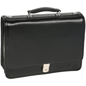 McKleinUSA River North I Series 43555 Triple Compartment Briefcase - Briefcase - Shoulder Strap, Hand Strap15.4&quot; Screen Support - 11.5&quot; x 16.5&quot; x 6&quot; - Leather - Black