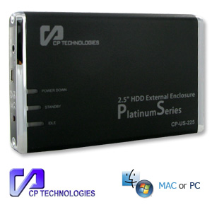 CP 2.5 USB 2.0 To Sata Platinum Series Power Saving HDD Enclosure with One Touch Backup