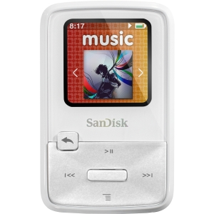 SanDisk Sansa Clip Zip SDMX22-004G-A57W 4 GB Flash MP3 Player - White - FM Recorder, FM Tuner, Voice Recorder - 1.1&quot; LCD - MP3, WMA, Ogg Vorbis, FLAC, AAC - 15 Hour