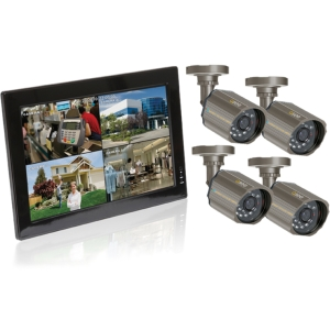 Q-see QC40108-418-5 Video Surveillance System - 4 x Monitor, Camera, Digital Video Recorder - 10&quot; LCD - H.264 Formats - 500 GB Hard Drive