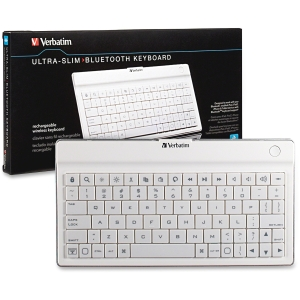 Verbatim Ultra-slim Mobile Keyboard - Wireless - Bluetooth - WhiteTablet, Cellular Phone